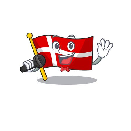 cartoon Singing flag denmark while holding a microphone