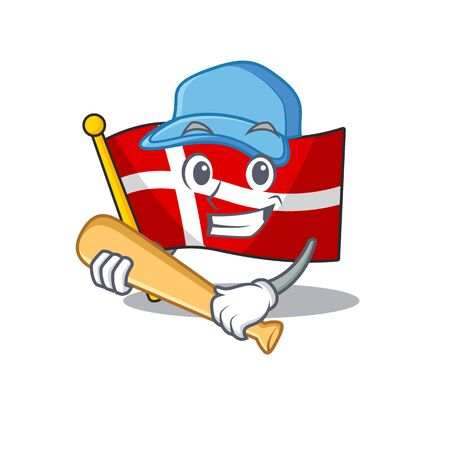 Funny smiling flag denmark cartoon mascot playing baseball