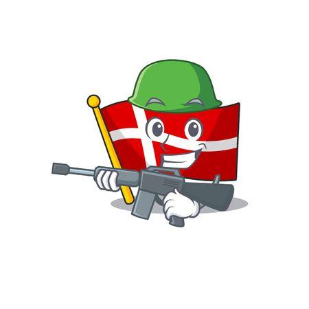 A cartoon style of flag denmark Army with machine gun  イラスト・ベクター素材