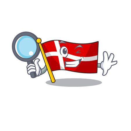 One eye flag denmark Detective cartoon character style