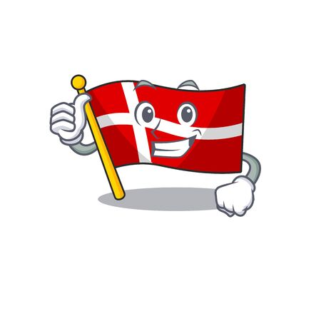 Cartoon of flag denmark making Thumbs up gesture  イラスト・ベクター素材