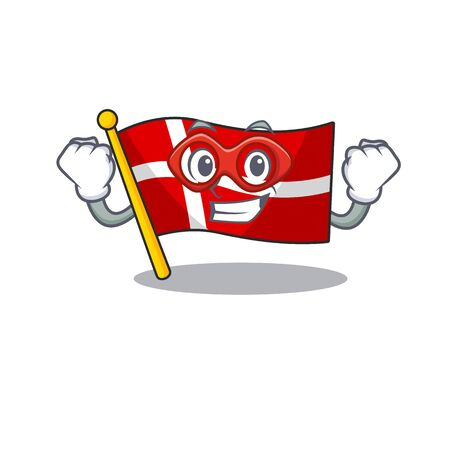 A cartoon of flag denmark wearing costume of Super hero