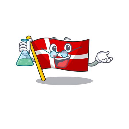 Smart Professor flag denmark cartoon character holding glass tube. Vector illustration
