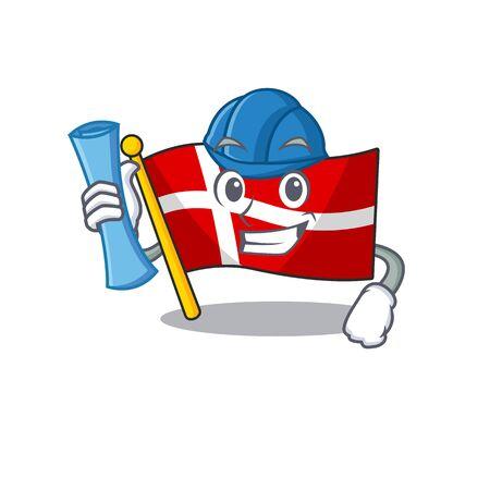 Cheerful Architect flag denmark cartoon style holding blue prints