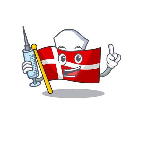 Cute Nurse flag denmark character cartoon style with syringe