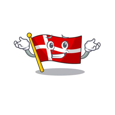 Super Cool Grinning flag denmark mascot cartoon style