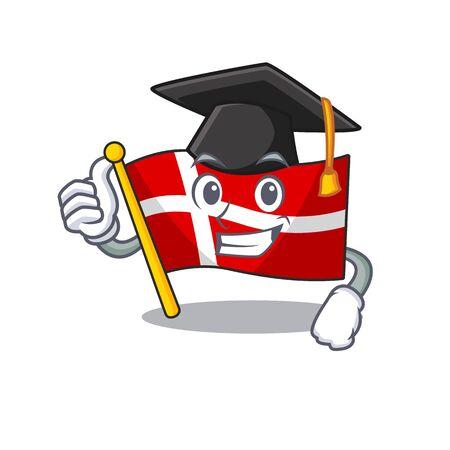 happy flag denmark wearing a black Graduation hat  イラスト・ベクター素材