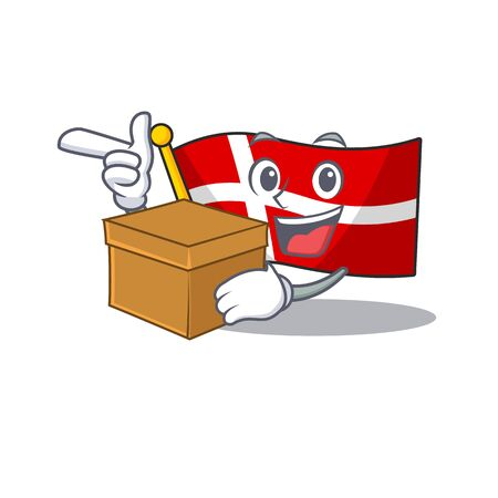 With box Super Funny flag denmark cartoon character style. Vector illustration  イラスト・ベクター素材
