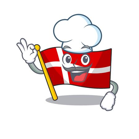 Happy Chef flag denmark cartoon character with white hat