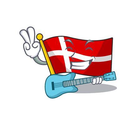 Super coole Flagge Dänemark Zeichentrickfigur mit Gitarre