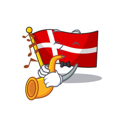 Super cool flag denmark cartoon character performance with trumpet