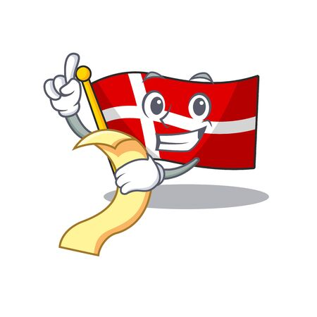 Cute flag denmark cartoon character with menu ready to serve