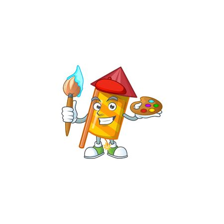 Cheerful yellow stripes fireworks rocket painter cartoon character with brush. Vector illustration