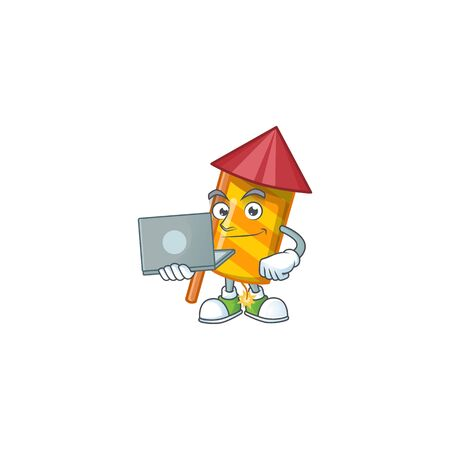 Happy smiling yellow stripes fireworks rocket cartoon character working with laptop. Vector illustration