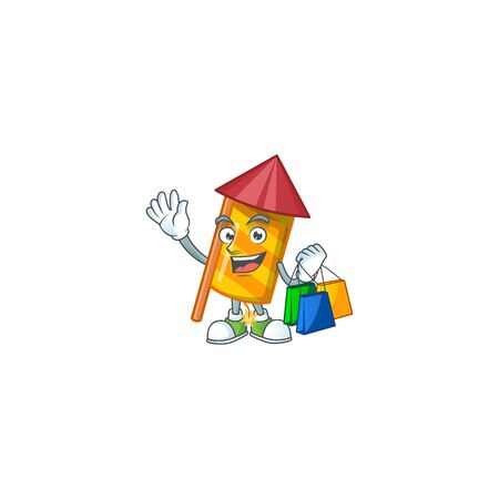 Cheerful yellow stripes fireworks rocket cartoon character waving and holding Shopping bags. Vector illustration