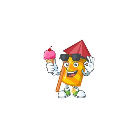 Mascot character featuring yellow stripes fireworks rocket with ice cream. Vector illustration