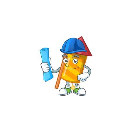 Cheerful Architect yellow stripes fireworks rocket cartoon style holding blue prints. Vector illustration Ilustração Vetorial