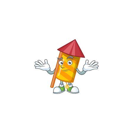 Super Cool Grinning yellow stripes fireworks rocket mascot cartoon style. Vector illustration Illusztráció