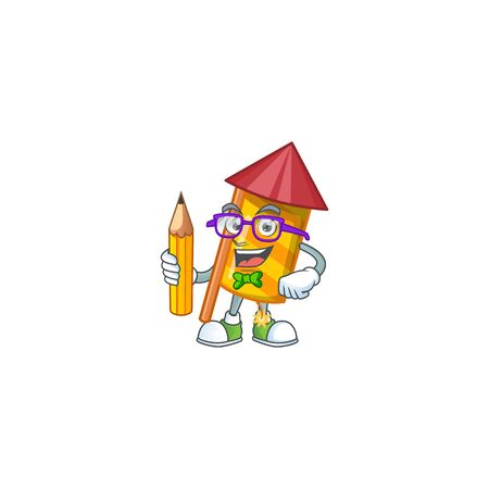 Cool smart Student yellow stripes fireworks rocket character holding pencil. Vector illustration