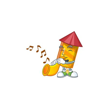 Super cool yellow stripes fireworks rocket cartoon character performance with trumpet. Vector illustration