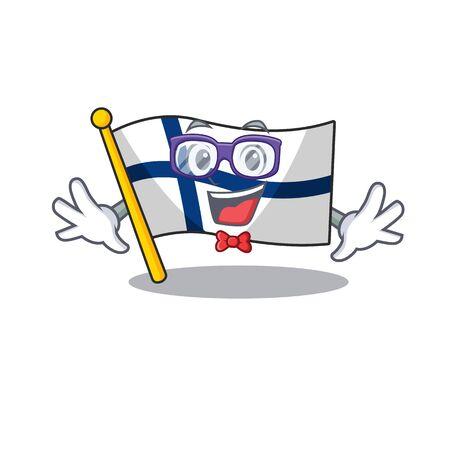 Super drôle de style de bande dessinée de mascotte de drapeau intelligent de la Finlande de geek. Illustration vectorielle Vecteurs