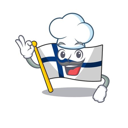 Happy Chef flag finland cartoon character with white hat. Vector illustration Illustration