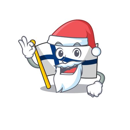 Flag finland in Santa cartoon character design. Vector illustration