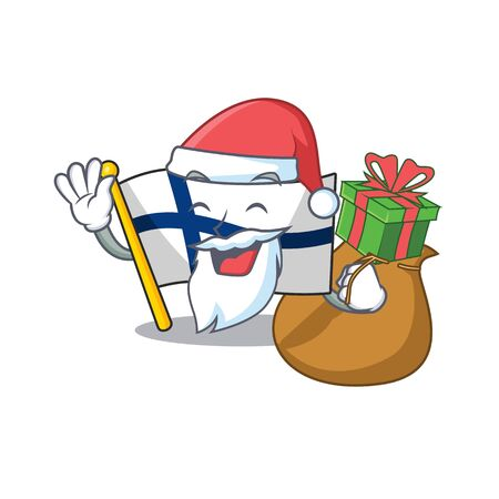 Santa with gift flag finland Cartoon character design. Vector illustration