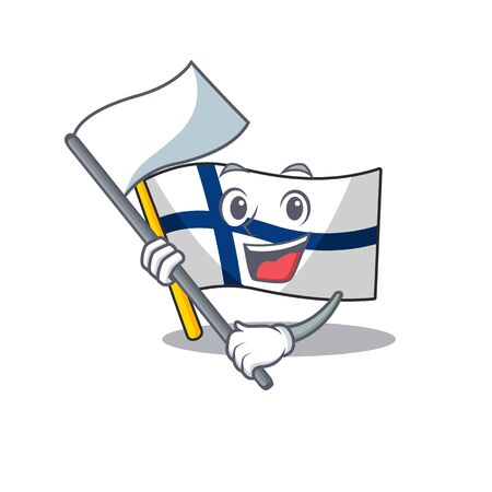 cute flag standing with flag finland cartoon character style. Vector illustration