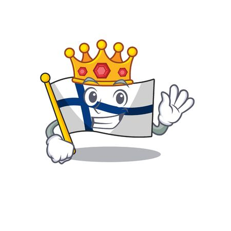 King flag finland on cartoon character mascot design. Vector illustration