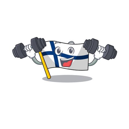 Fitness exercise flag finland cartoon character holding barbells. Vector illustration  イラスト・ベクター素材