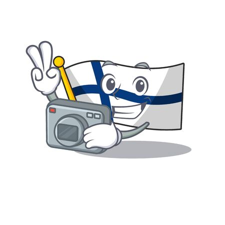 a professional Photographer flag finland cartoon character with a camera. Vector illustration