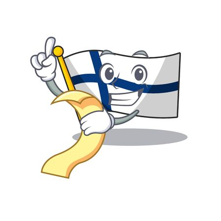 Cute Flag finland cartoon character with menu ready to serve. Vector illustration