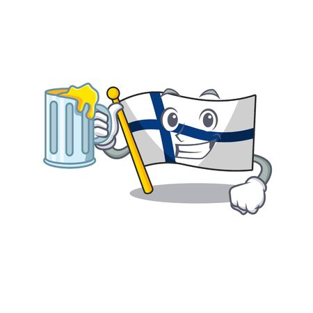Happy flag finland holding a glass with juice. Vector illustration