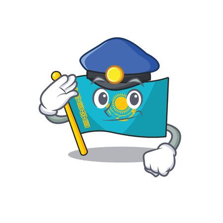 Flag kazakhstan Cartoon character dressed as a Police officer. Vector illustration