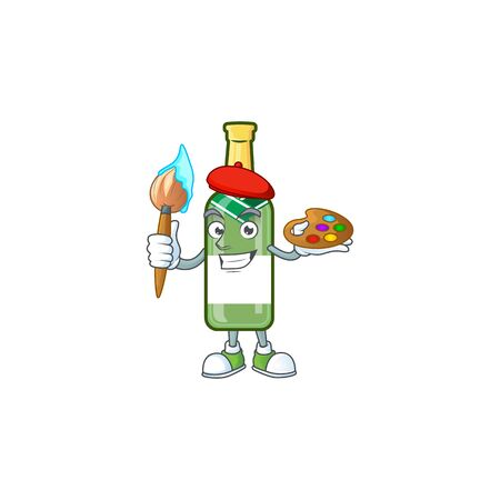 Cheerful champagne green bottle painter cartoon character with brush. Vector illustration
