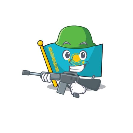 A cartoon style of flag kazakhstan Army with machine gun. Vector illustration