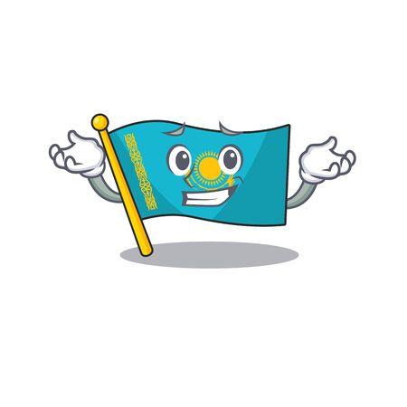Super Cool Grinning flag kazakhstan mascot cartoon style. Vector illustration Illusztráció