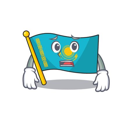 Flag kazakhstan Cartoon character showing afraid look face. Vector illustration