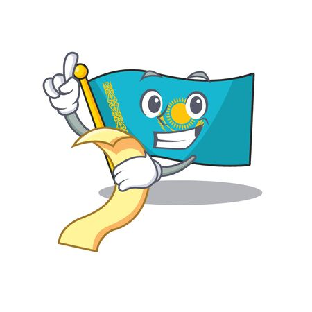 Cute flag kazakhstan cartoon character with menu ready to serve. Vector illustration Illustration