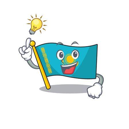 Have an idea cute flag kazakhstan on a cartoon style. Vector illustration