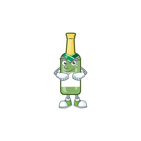 Champagne green bottle mascot cartoon style with Smirking face. Vector illustration Illusztráció