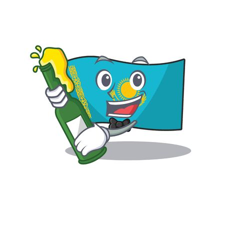 Cool flag kazakhstan with beer mascot cartoon style. Vector illustration