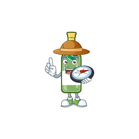 Explorer champagne green bottle cartoon character holding a compass. Vector illustration