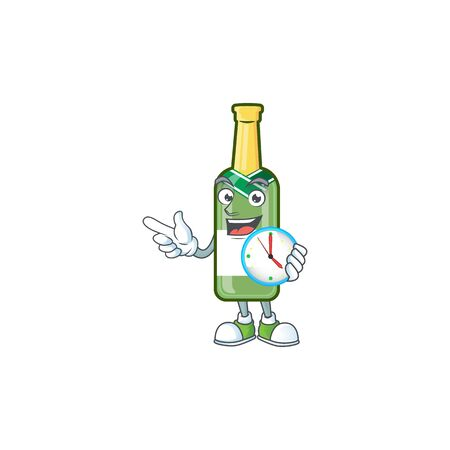 With clock smiling champagne green bottle cartoon mascot style. Vector illustration
