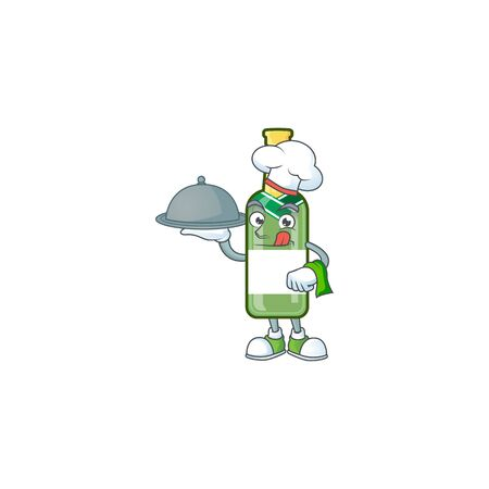 smiling champagne green bottle as a Chef with food cartoon style design. Vector illustration