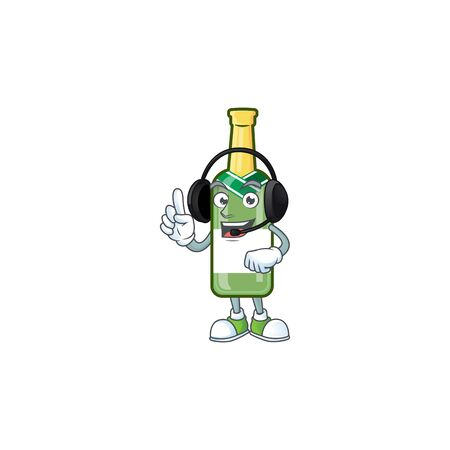 Champagne green bottle cute cartoon character design with headphone. Vector illustration