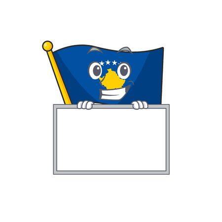 Grinning with board flag kosovo cartoon character style. Vector illustration Illusztráció