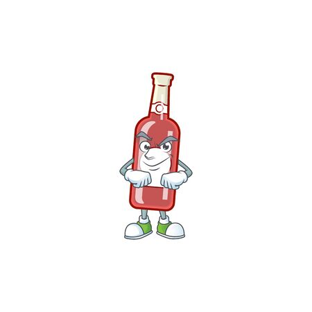 Champagne red bottle mascot cartoon style with Smirking face. Vector illustration
