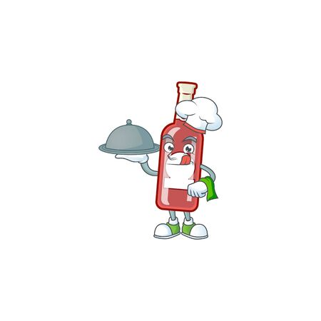smiling champagne red bottle as a Chef with food cartoon style design. Vector illustration Illustration